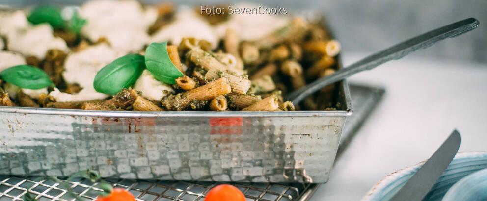 Vegetarisches Rezept: Gratinierte Kichererbsen-Nudeln