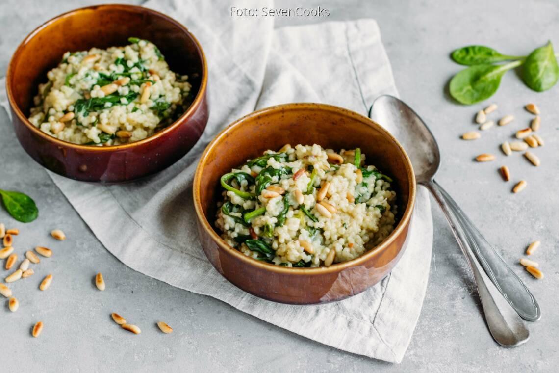 Vegetarisches Rezept: Graupenrisotto mit Blattspinat 1