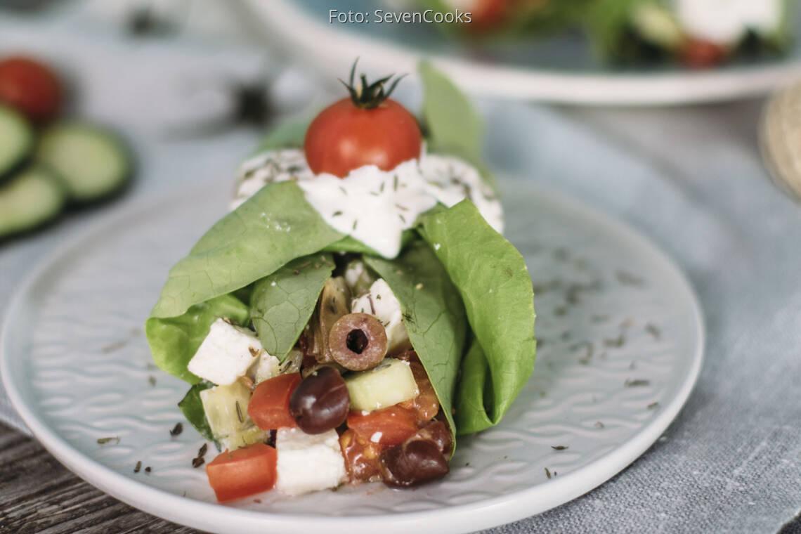 Vegetarisches Rezept: Griechische Kopfsalat-Wraps_1