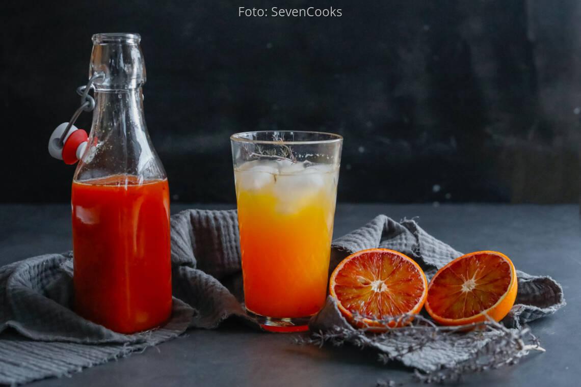 Vegetarisches Rezept: Ingwer-Sirup mit Blutorange und Thymian 1