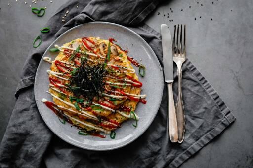 Vegetarisches Rezept: Japanische Pfannkuchen