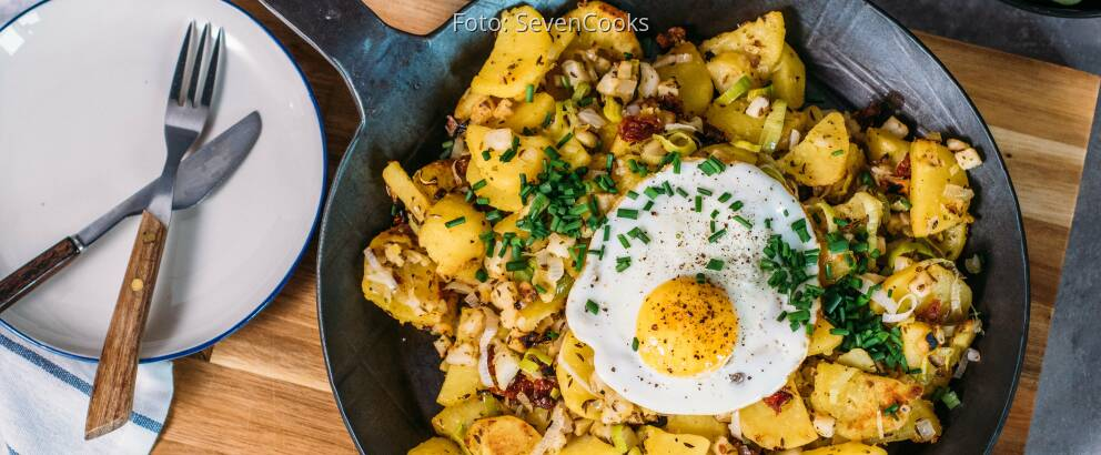 Vegetarisches Rezept: Kartoffel-Gröstl mit Spiegelei 2
