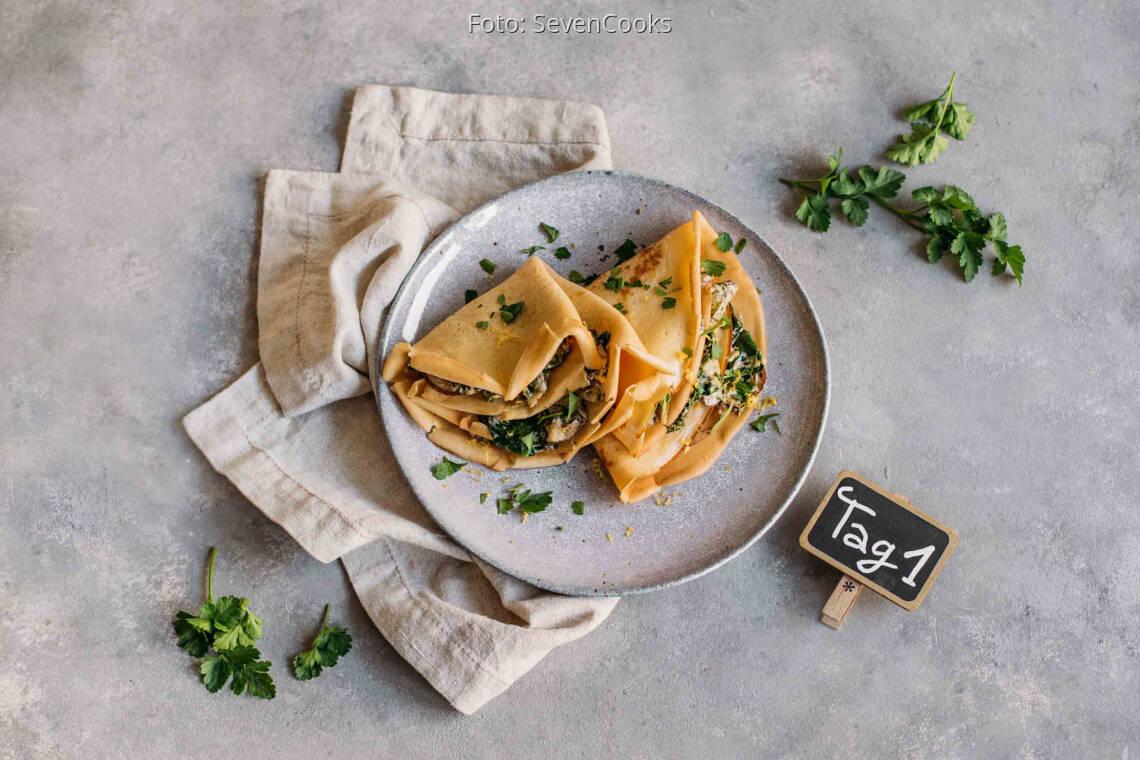 Vegetarisches Rezept: Kids Meal-Prep 1: Pfannkuchen mit Spinat-Pilz-Füllung_1_Schild