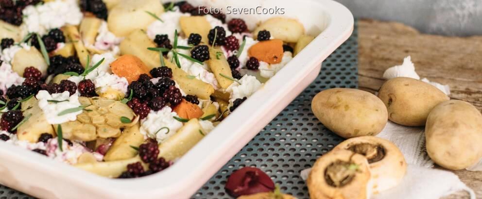 Vegetarisches Rezept: Pastinakenofengemüse mit Hüttenkäse_3