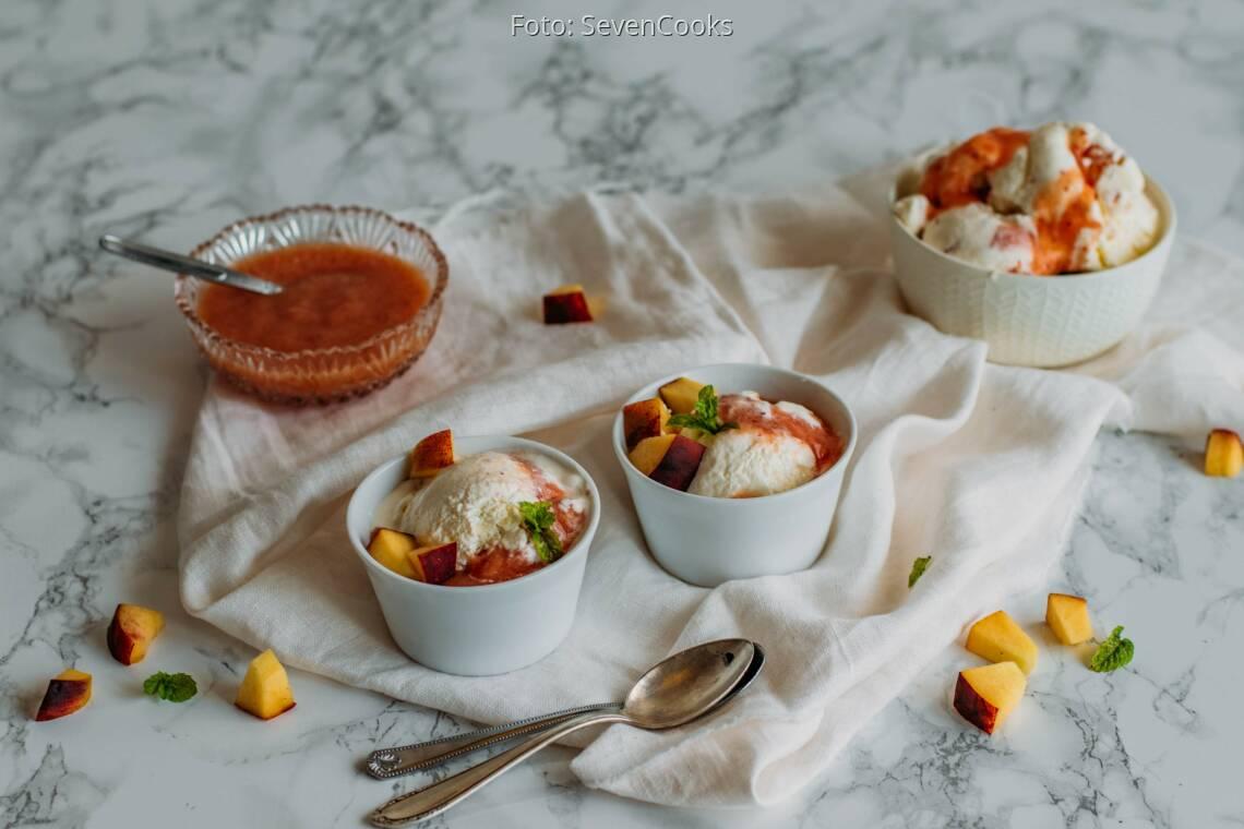 Vegetarisches Rezept: Pfirsich-Joghurt-Eis 1