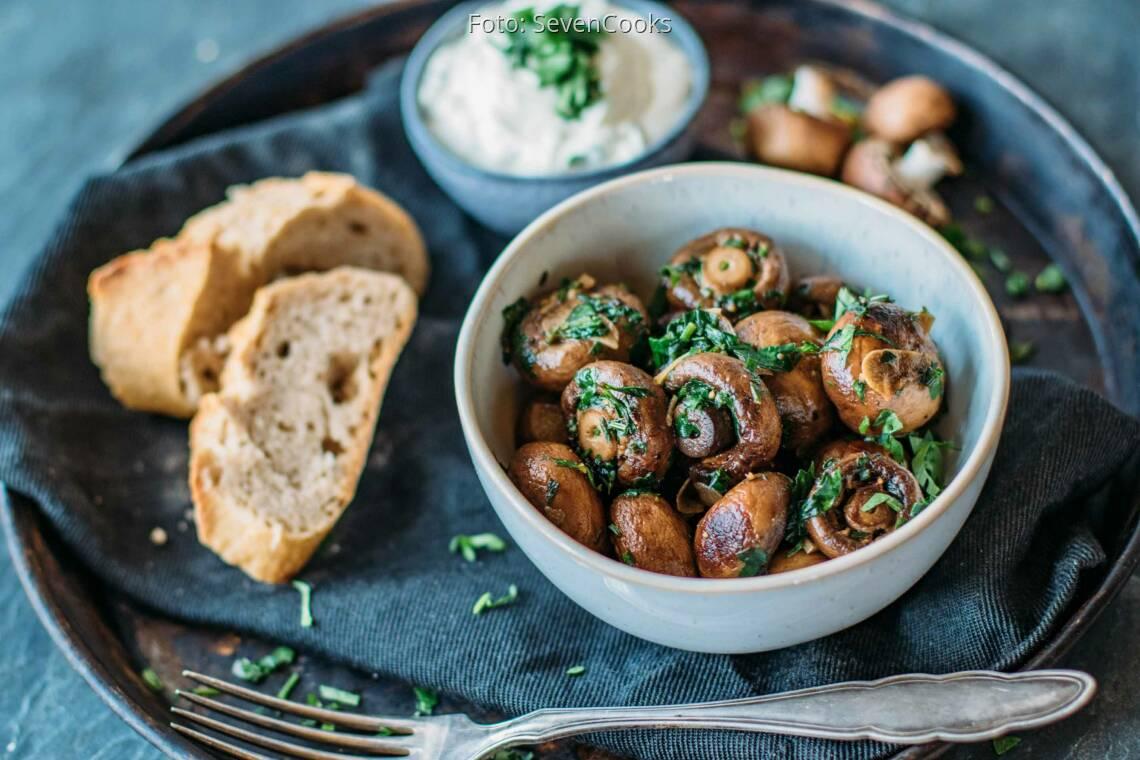 Vegetarisches Rezept: Pilze mit Knoblauchdip 1