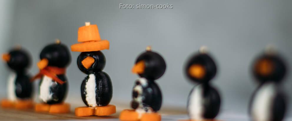 Vegetarisches Rezept: Pinguine aus Oliven