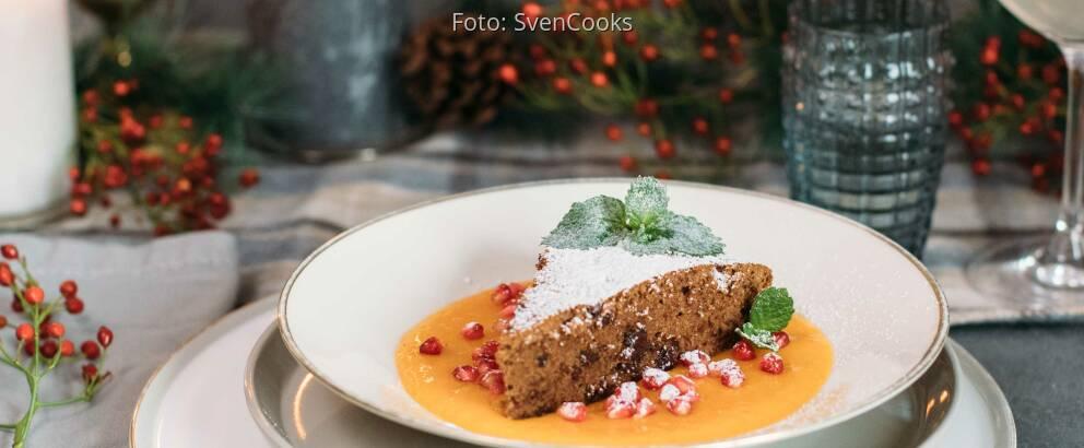 Vegetarisches Rezept: Rotweinkuchen mit Mangofruchtspiegel 2