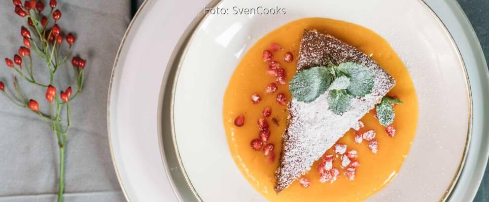 Vegetarisches Rezept: Rotweinkuchen mit Mangofruchtspiegel 3