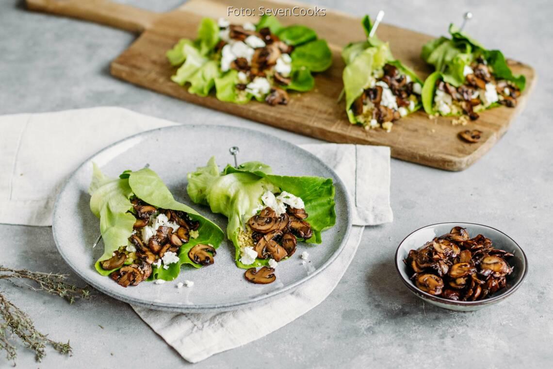 Vegetarisches Rezept: Salatrollen mit Couscous und Feta 1