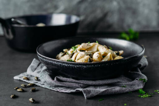 Vegetarisches Rezept: Schnelle Ricotta-Kürbiskern Pasta