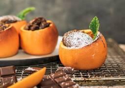 Vegetarisches Rezept: Schokokuchen in der Orangenschale_1