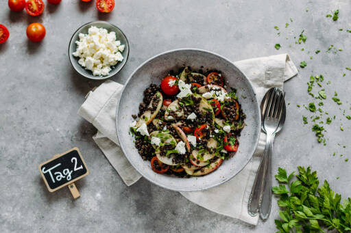 Vegetarisches Rezept: Simple Meal-Prep 2: Fruchtiger Belugalinsensalat_1_Schild