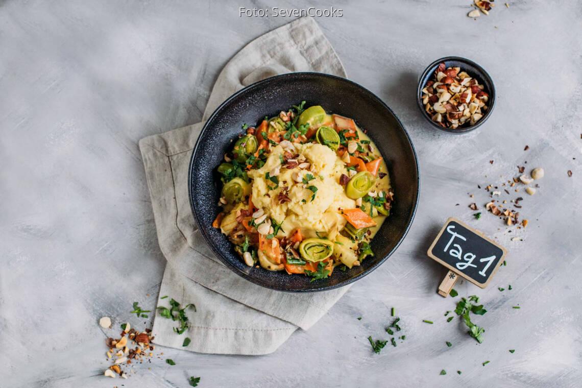 Vegetarisches Rezept: Soft Meal-Prep 1: Buntes Lauch-Karotten-Gemüse mit Kartoffelpüree_1_Schild
