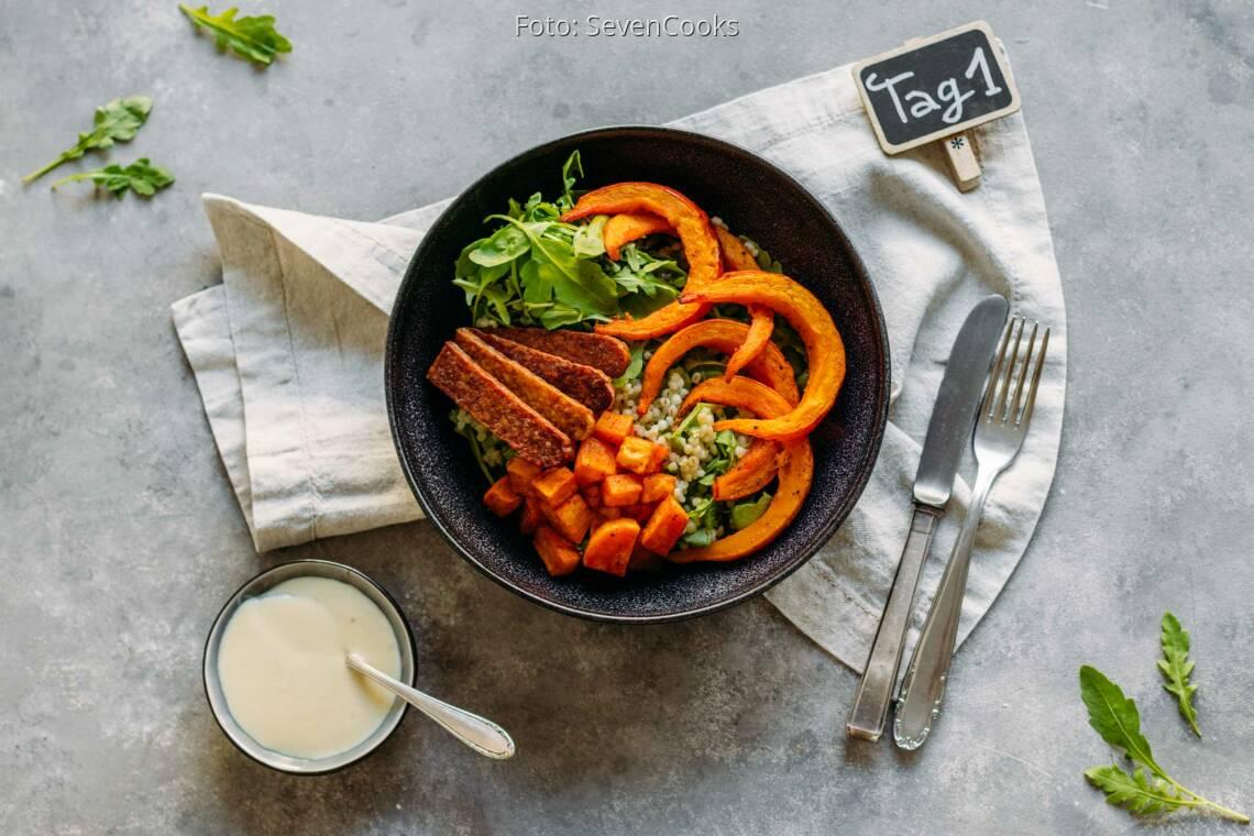 Vegetarisches Rezept: Soulfood Meal-Prep 1: Happy Bowl mit Graupen und Röstgemüse_1_Schild