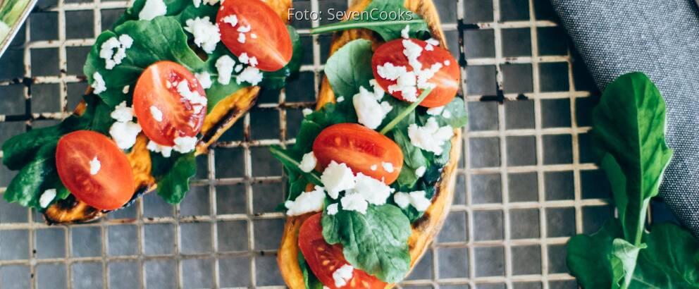 Vegetarisches Rezept: Süßkartoffeltoast mit Feta