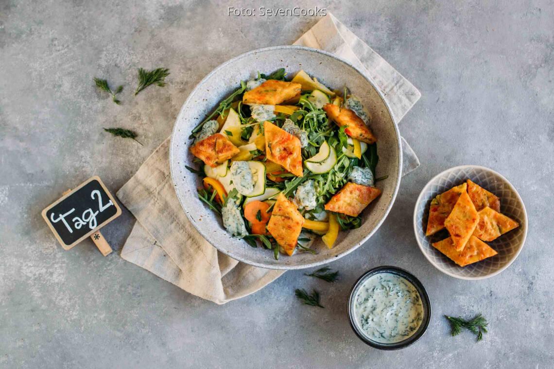 Vegetarisches Rezept: To Go Meal-Prep 2: Pfannkuchenrauten auf Salat_1_Schild