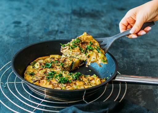 Vegetarisches Rezept: Zucchini-Pilz-Tortilla 1