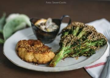 Wochenplan Günstig Gerichte im Winter: brokkoli und blumenkohlsteaks