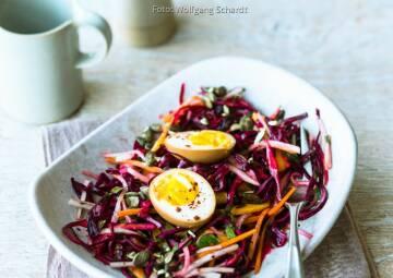 Wochenplan Saisonal im August: rotkohl rettich coleslaw