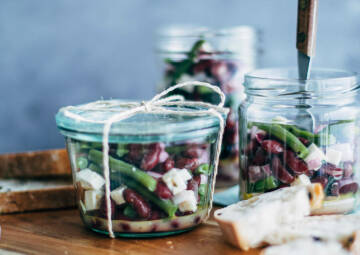Zweierlei Bohnensalat mit Feta