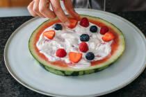 Wassermelonenpizza belegen