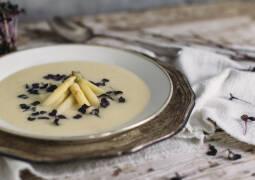 Spargelsuppe mit Rettichkresse und blanchiertem Zitronenspargel im Teller